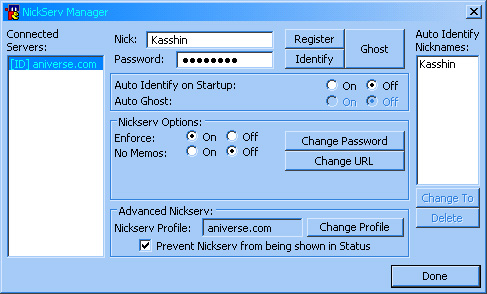 Nickserv Manager